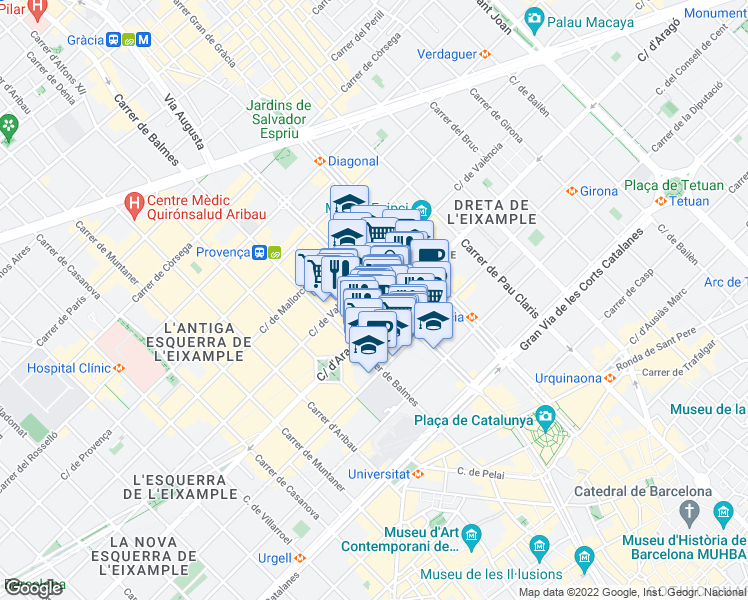 map of restaurants, bars, coffee shops, grocery stores, and more near 63 Rambla de Catalunya in Barcelona