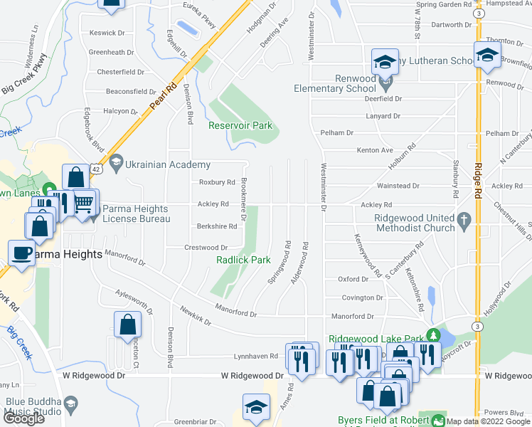 map of restaurants, bars, coffee shops, grocery stores, and more near 6314 Nelwood Road in Parma Heights