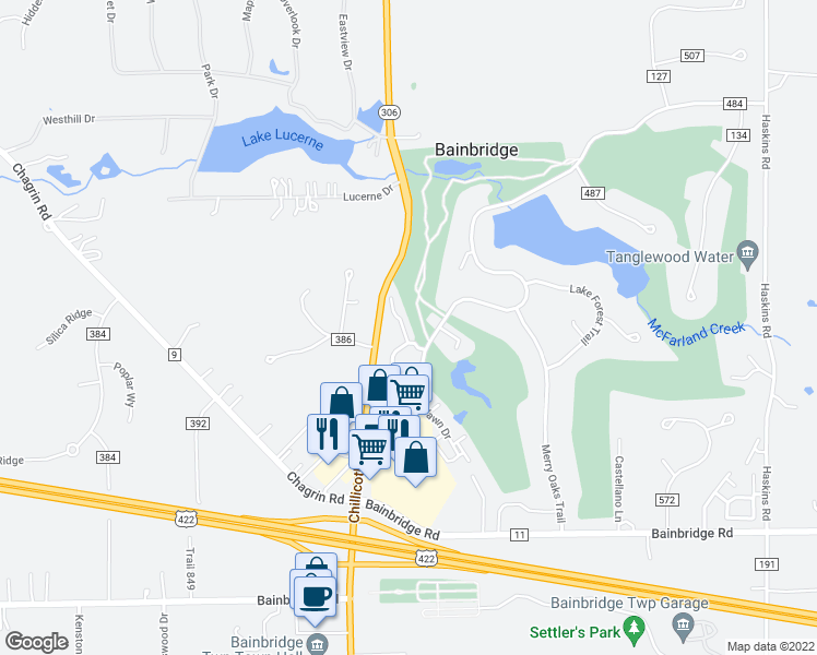 map of restaurants, bars, coffee shops, grocery stores, and more near 8548 Tanglewood Trail in Chagrin Falls