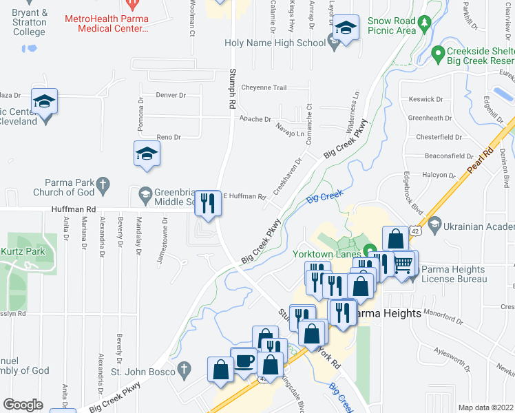 map of restaurants, bars, coffee shops, grocery stores, and more near East Huffman Road in Parma Heights