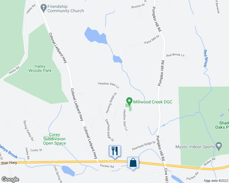 map of restaurants, bars, coffee shops, grocery stores, and more near 85 Hunting Ridge Drive in Mystic