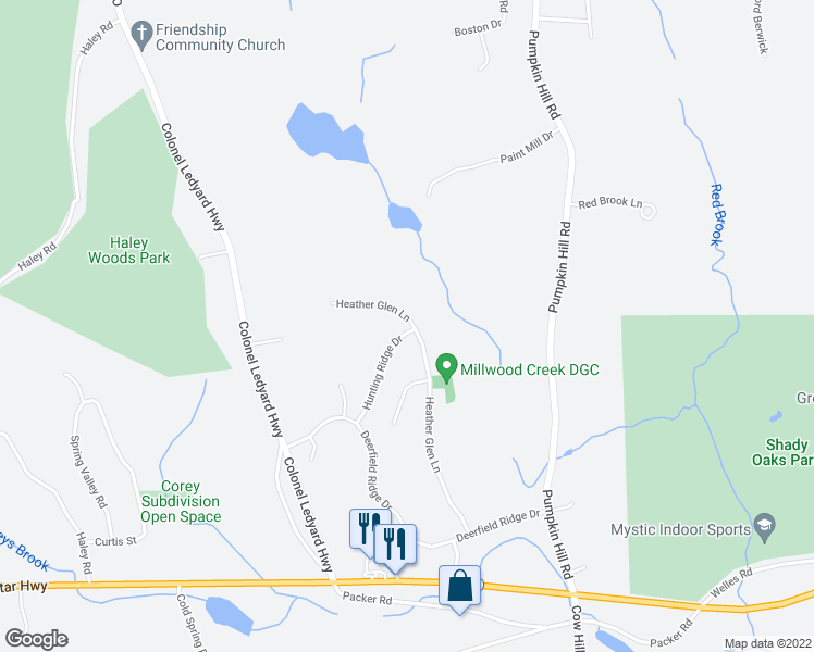 map of restaurants, bars, coffee shops, grocery stores, and more near 97 Hunting Ridge Drive in Groton
