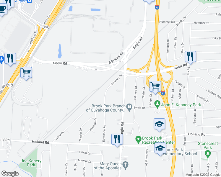 map of restaurants, bars, coffee shops, grocery stores, and more near 5996 Glenway Drive in Brook Park