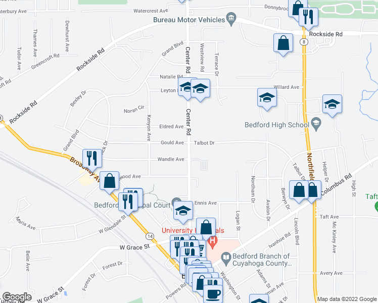 map of restaurants, bars, coffee shops, grocery stores, and more near Center Road in Bedford