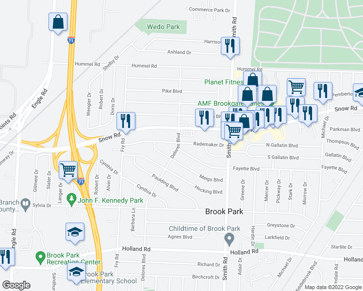 map of restaurants, bars, coffee shops, grocery stores, and more near 15775 Rademaker Drive in Brook Park
