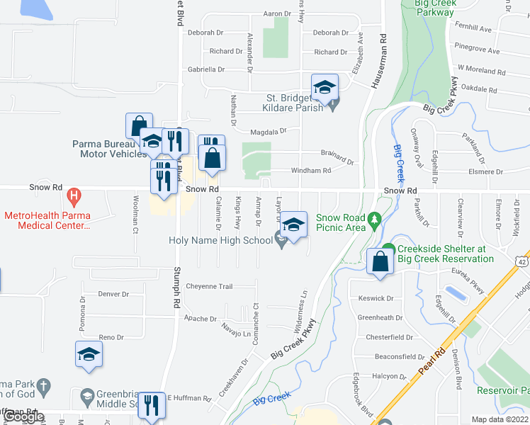 map of restaurants, bars, coffee shops, grocery stores, and more near 5839 Amrap Dr in Parma Heights