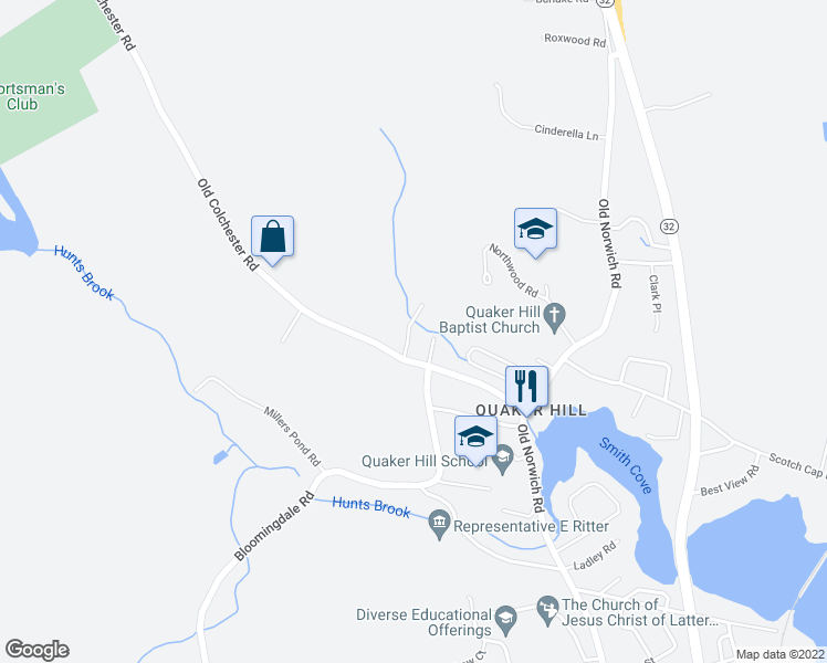 map of restaurants, bars, coffee shops, grocery stores, and more near 5 Pennicott Road in Waterford