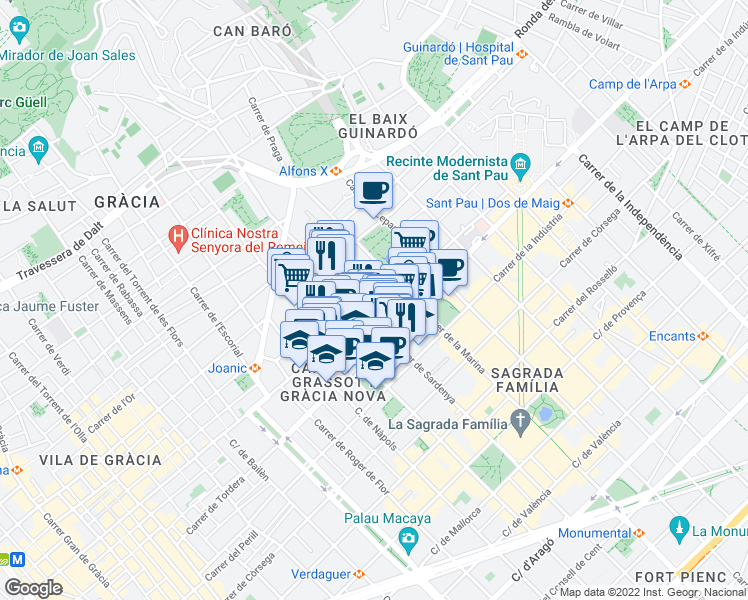 map of restaurants, bars, coffee shops, grocery stores, and more near 357 Travessera de Gràcia in Barcelona