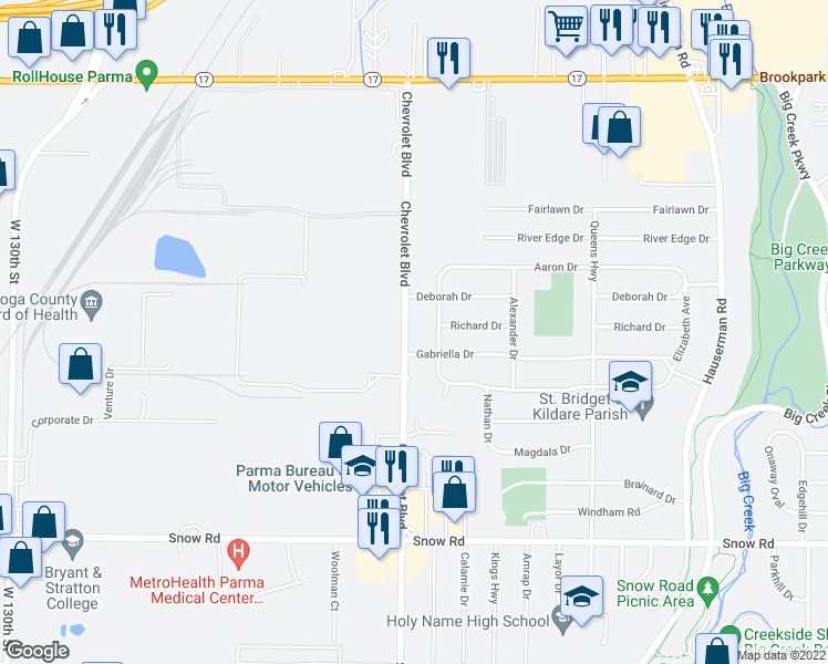 map of restaurants, bars, coffee shops, grocery stores, and more near 5521 Chevrolet Boulevard in Parma