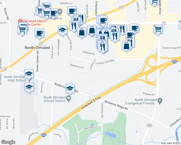 map of restaurants, bars, coffee shops, grocery stores, and more near 5272 Victoria Lane in North Olmsted