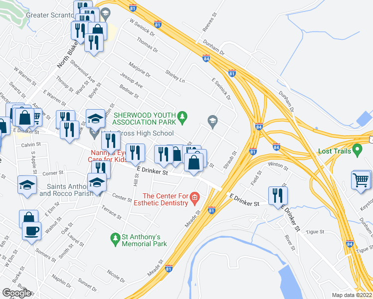 map of restaurants, bars, coffee shops, grocery stores, and more near Throop Street in Throop