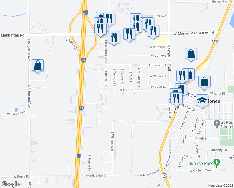map of restaurants, bars, coffee shops, grocery stores, and more near 25811 South Truman Court in Monee