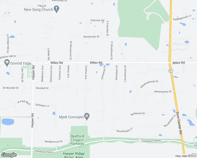 map of restaurants, bars, coffee shops, grocery stores, and more near 5066 Cheswick Drive in Solon