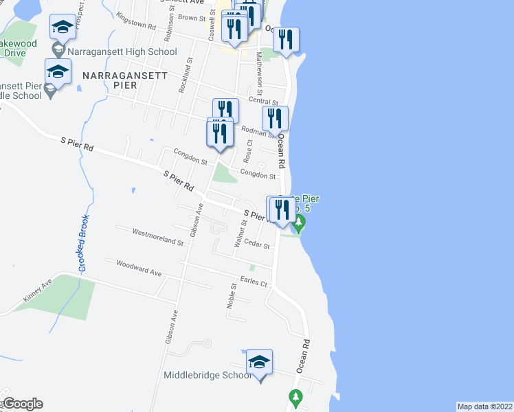 map of restaurants, bars, coffee shops, grocery stores, and more near 29 South Pier Road in Narragansett