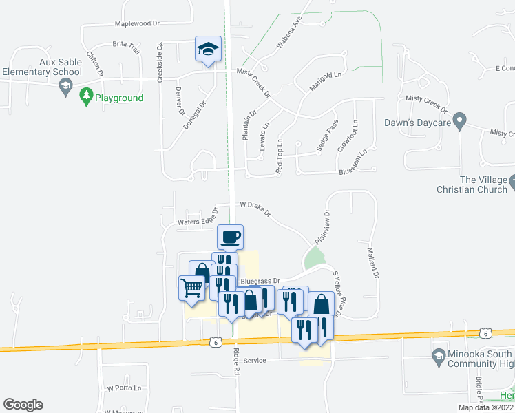 map of restaurants, bars, coffee shops, grocery stores, and more near 27624-27652 West Drake Drive in Channahon