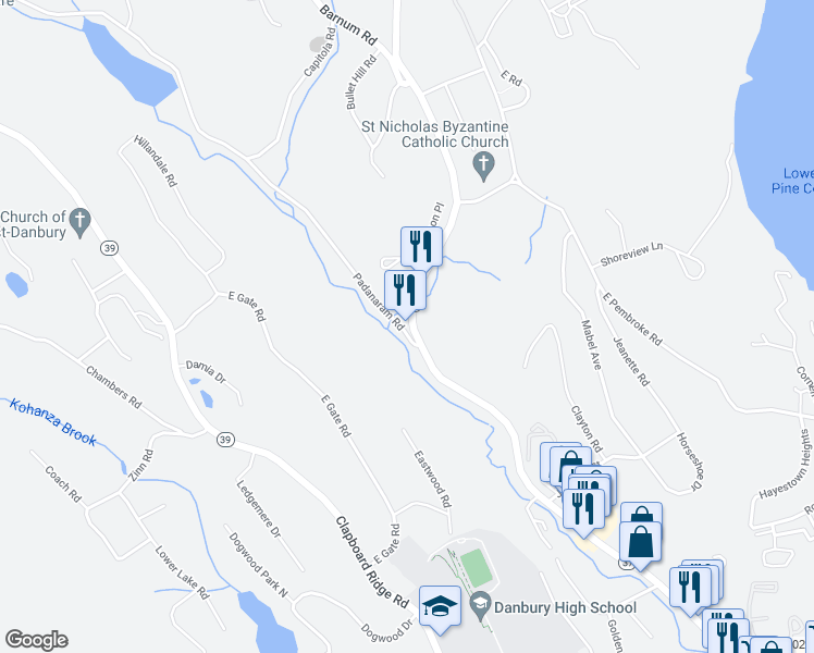 map of restaurants, bars, coffee shops, grocery stores, and more near 2 Pembroke Road in Danbury
