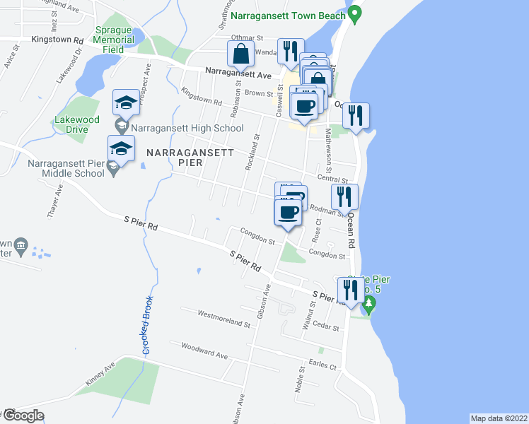 map of restaurants, bars, coffee shops, grocery stores, and more near 130 Caswell Street in Narragansett