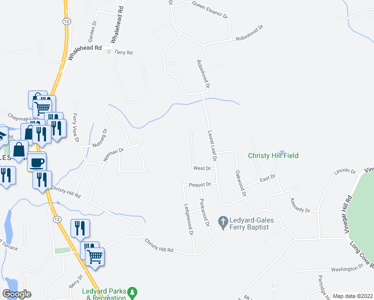 map of restaurants, bars, coffee shops, grocery stores, and more near 19 West Drive in Ledyard