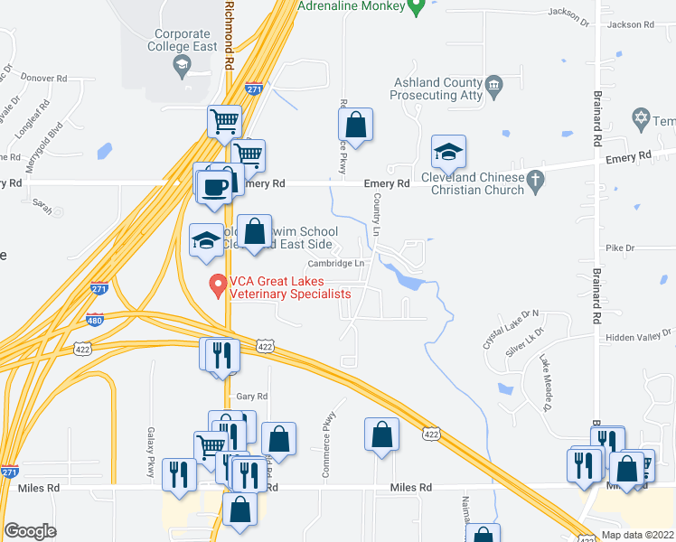 map of restaurants, bars, coffee shops, grocery stores, and more near 4748 Country Lane in Warrensville Heights