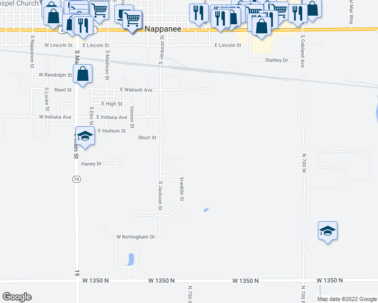 map of restaurants, bars, coffee shops, grocery stores, and more near 218 Stonewall Court in Nappanee