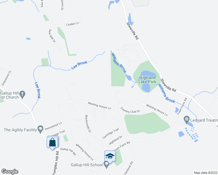 map of restaurants, bars, coffee shops, grocery stores, and more near 11 Captain Amos Stanton Drive in Ledyard