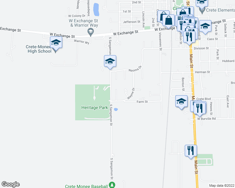 map of restaurants, bars, coffee shops, grocery stores, and more near 1545 Williams Court in Crete