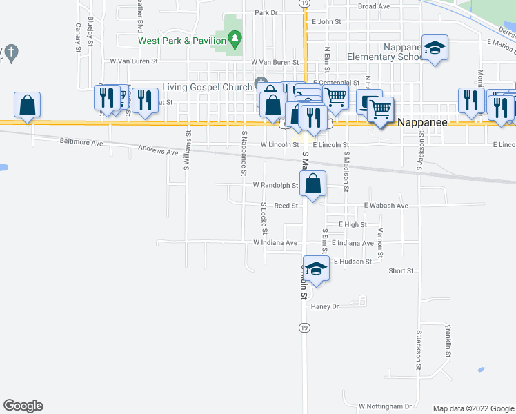 map of restaurants, bars, coffee shops, grocery stores, and more near 502 South Locke Street in Nappanee