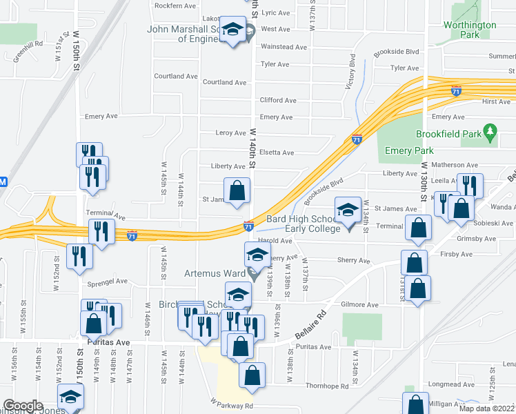 map of restaurants, bars, coffee shops, grocery stores, and more near 4205 West 140th Street in Cleveland