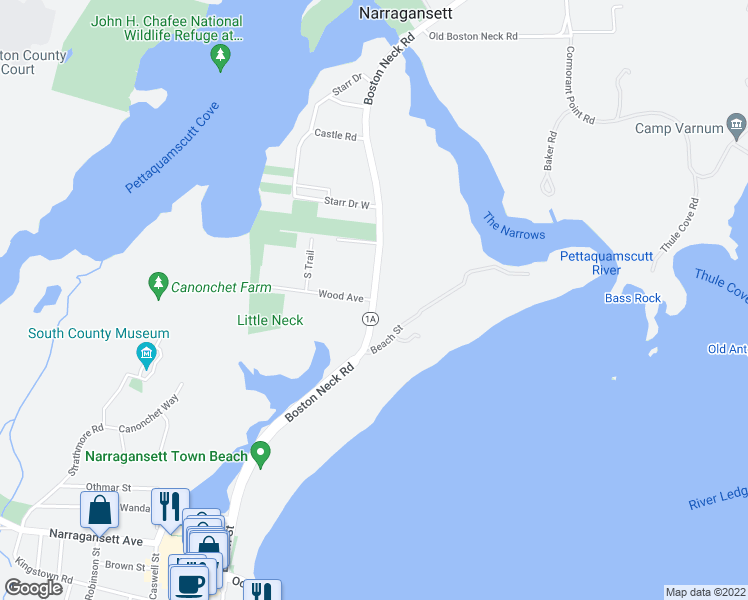 map of restaurants, bars, coffee shops, grocery stores, and more near Boston Neck Rd & Wood Ave in Narragansett