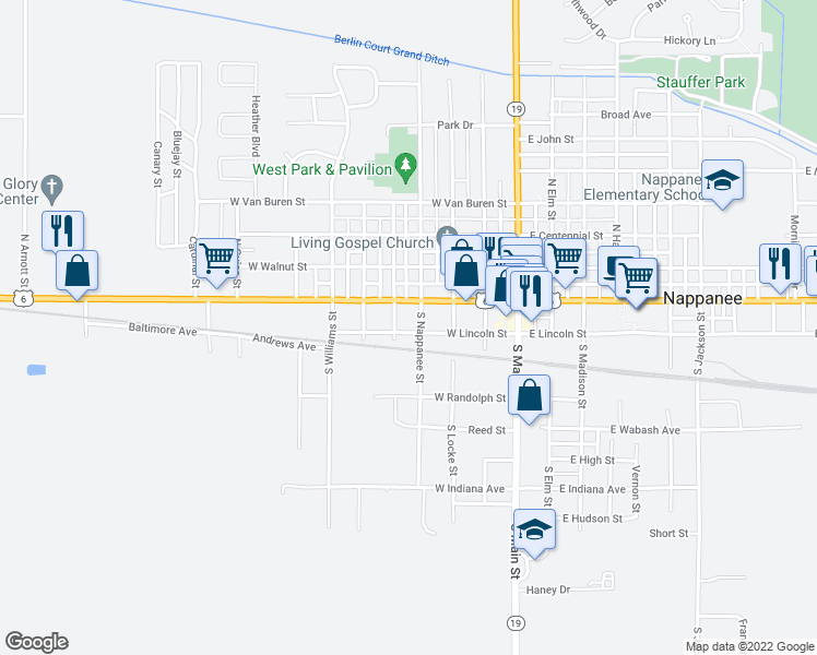 map of restaurants, bars, coffee shops, grocery stores, and more near 406 West Lincoln Street in Nappanee
