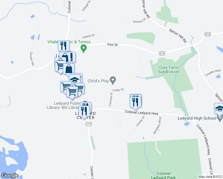 map of restaurants, bars, coffee shops, grocery stores, and more near 11-99 Fairway Drive in Ledyard