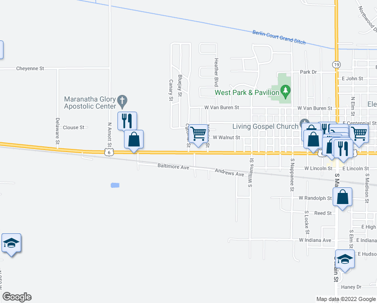 map of restaurants, bars, coffee shops, grocery stores, and more near 1057 Baltimore Avenue in Nappanee