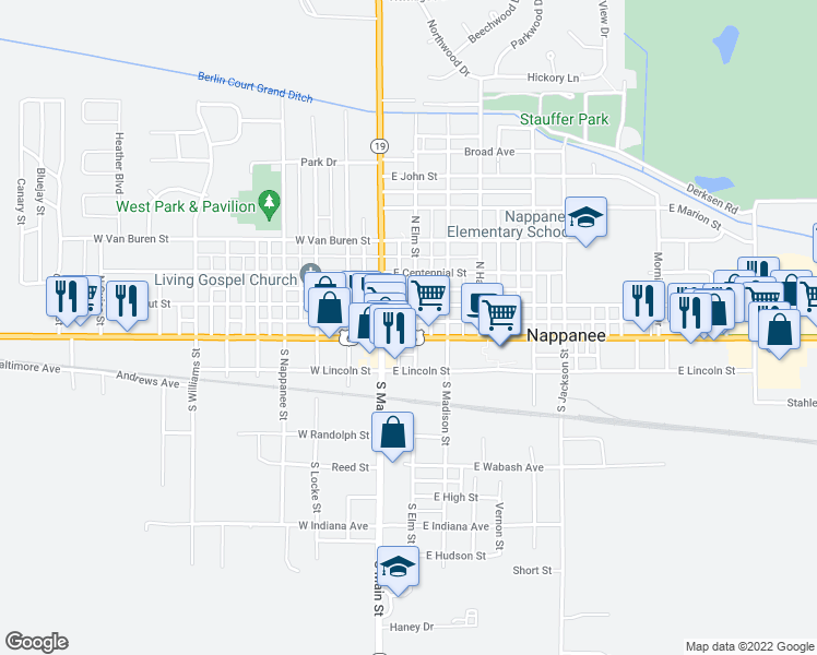 map of restaurants, bars, coffee shops, grocery stores, and more near 158 E Market St in Nappanee