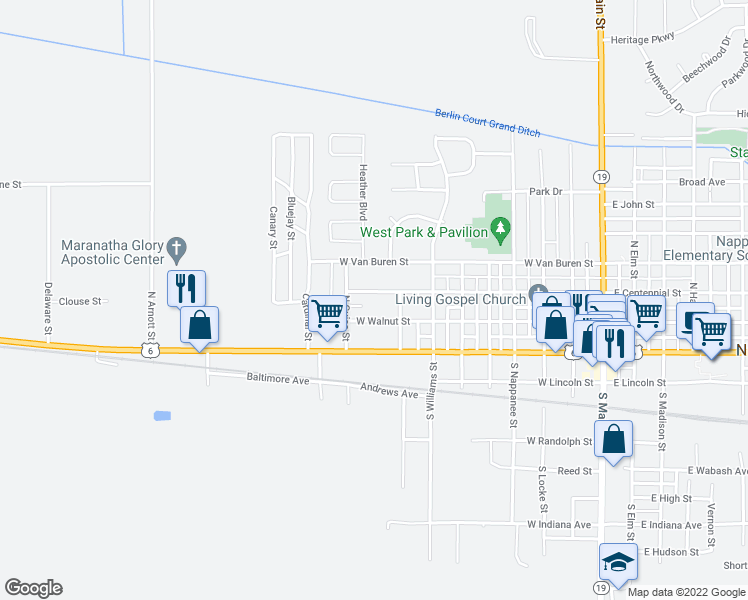 map of restaurants, bars, coffee shops, grocery stores, and more near 901 West Centennial Street in Nappanee