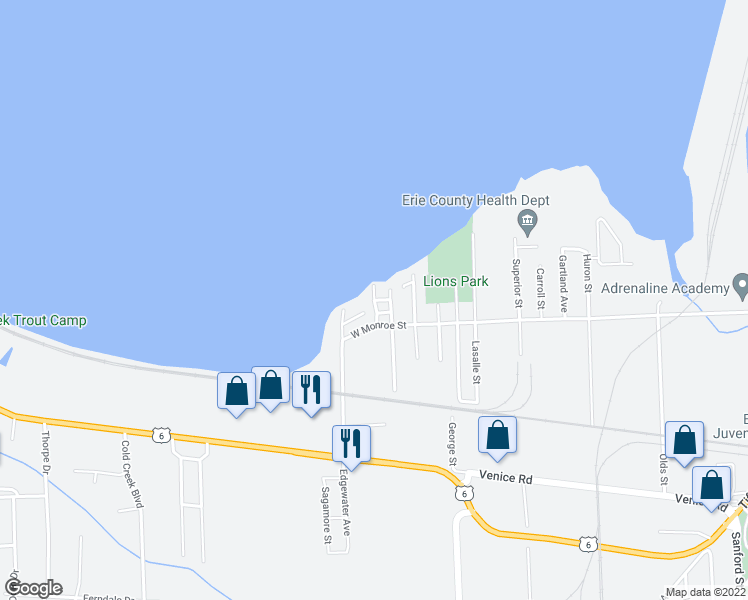 map of restaurants, bars, coffee shops, grocery stores, and more near Horseshoe Avenue in Sandusky