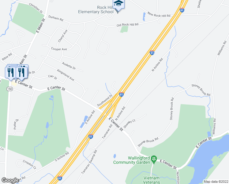 map of restaurants, bars, coffee shops, grocery stores, and more near Interstate 91 in Wallingford