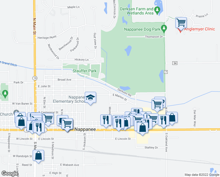 map of restaurants, bars, coffee shops, grocery stores, and more near 956 East John Street in Nappanee