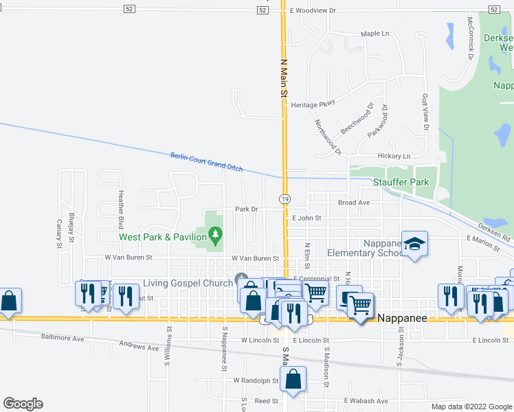 map of restaurants, bars, coffee shops, grocery stores, and more near 206 Park Drive in Nappanee