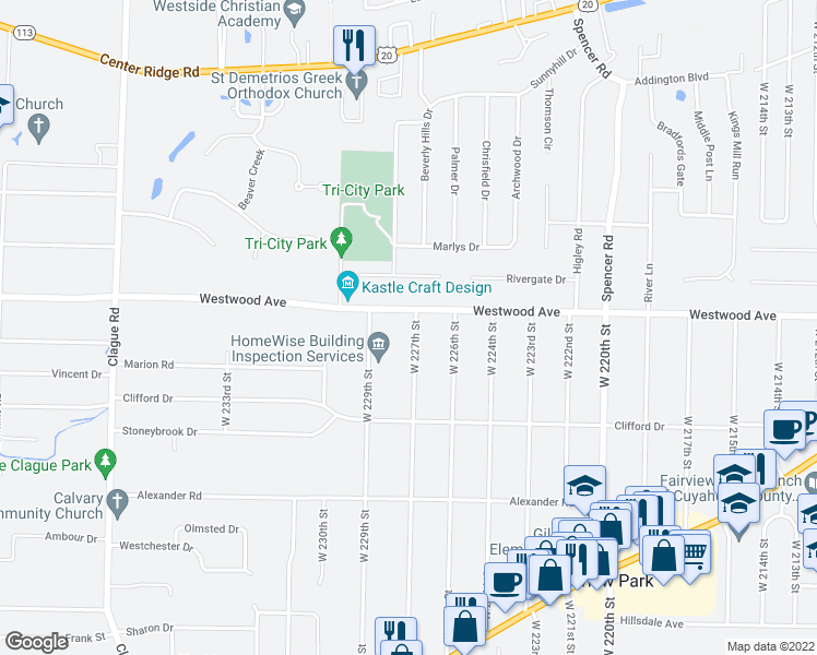 map of restaurants, bars, coffee shops, grocery stores, and more near 22600-22698 Westwood Avenue in Fairview Park