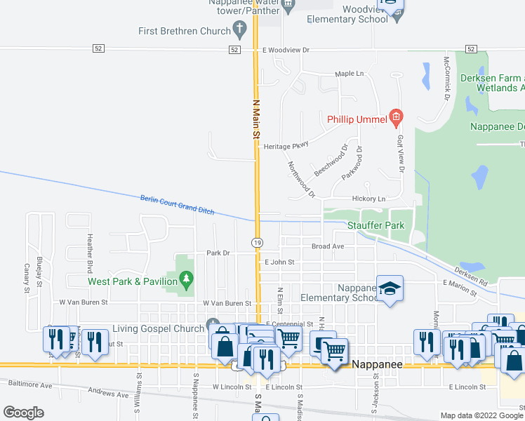 map of restaurants, bars, coffee shops, grocery stores, and more near 853 North Main Street in Nappanee