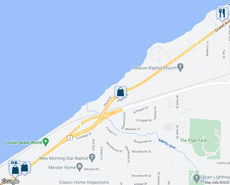 map of restaurants, bars, coffee shops, grocery stores, and more near 4160 Shore Drive in Lorain