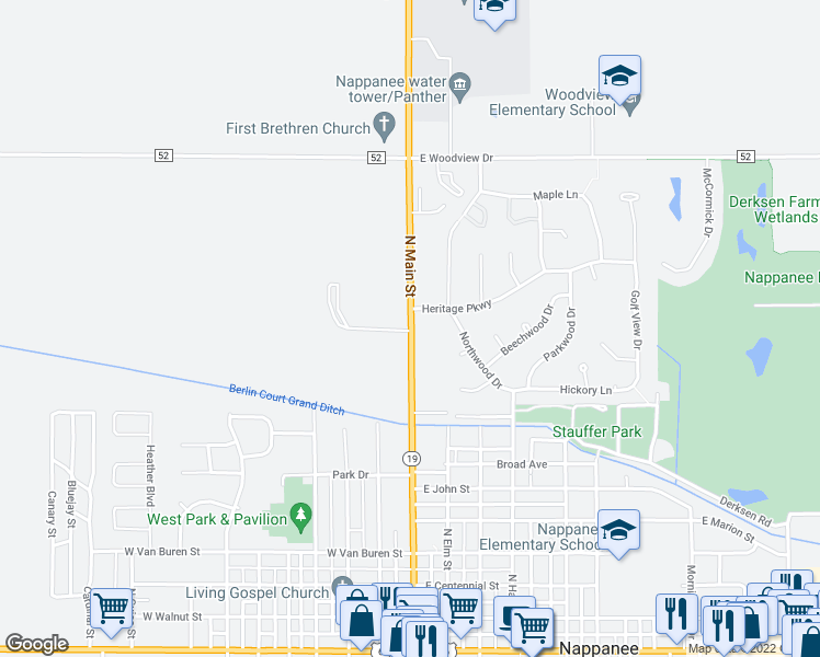 map of restaurants, bars, coffee shops, grocery stores, and more near 102 Heritage Parkway in Nappanee