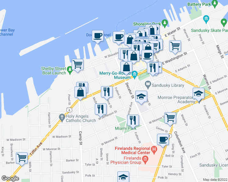 map of restaurants, bars, coffee shops, grocery stores, and more near 311 Fulton Street in Sandusky