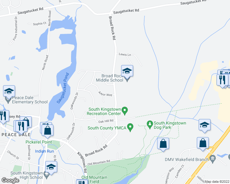 map of restaurants, bars, coffee shops, grocery stores, and more near 401-499 Broad Rock Road in South Kingstown
