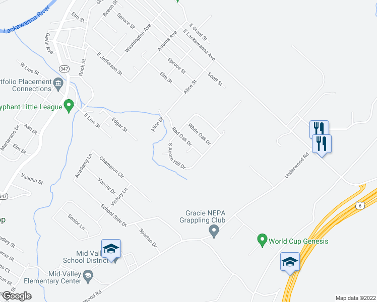map of restaurants, bars, coffee shops, grocery stores, and more near Mount Laurel Lane in Olyphant