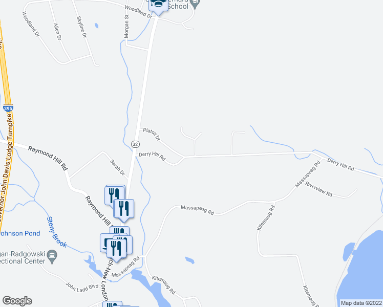 map of restaurants, bars, coffee shops, grocery stores, and more near 4 Brian Boulevard in Montville
