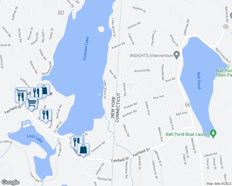 map of restaurants, bars, coffee shops, grocery stores, and more near Kingston Road in Brewster