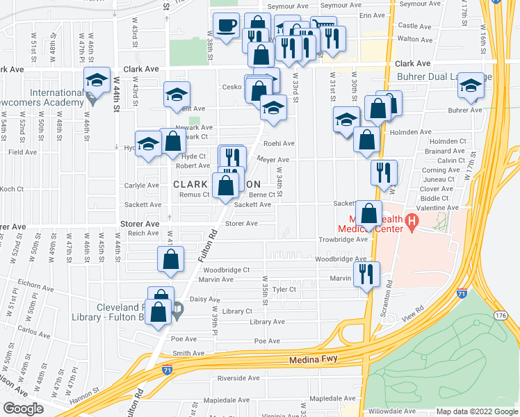 map of restaurants, bars, coffee shops, grocery stores, and more near 3513 Sackett Avenue in Cleveland