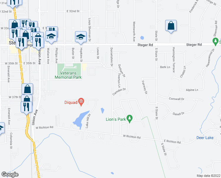 map of restaurants, bars, coffee shops, grocery stores, and more near 334 Dorsetshire Drive in Steger