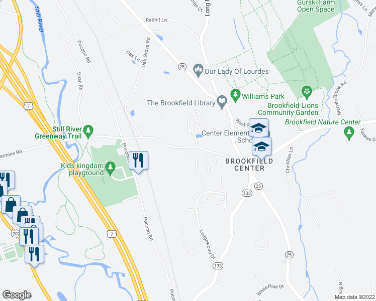 map of restaurants, bars, coffee shops, grocery stores, and more near 11 Comstock Trail in Brookfield